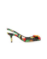 Escarpins en toile à fleurs noirs Dolce & Gabbana