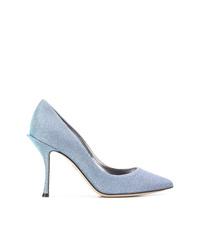 Escarpins en toile bleu clair