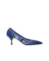 Escarpins en toile imprimés bleu marine Prada