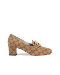 Escarpins en toile imprimés marron clair Gucci