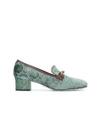Escarpins en toile imprimés verts Gucci