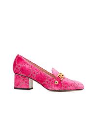 Escarpins en velours fuchsia Gucci