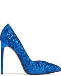 Escarpins pailletés bleus Saint Laurent