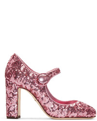 Escarpins pailletés fuchsia Dolce & Gabbana