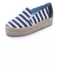 Espadrilles à rayures horizontales bleues marine et blanches Studio Pollini