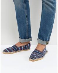 Espadrilles à rayures horizontales bleues Asos