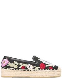 Espadrilles en cuir à fleurs noires Alexander McQueen