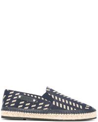 Espadrilles en cuir géométriques bleues Versace