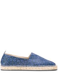 Espadrilles en cuir imprimées bleues Etro