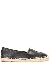 Espadrilles en cuir noires Saint Laurent