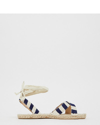 Espadrilles en toile à rayures horizontales bleu marine ASOS DESIGN