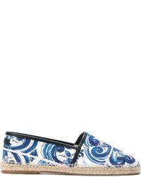 Espadrilles en toile imprimées bleues Dolce & Gabbana