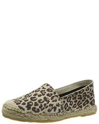 Espadrilles imprimées léopard brunes claires Selected Femme