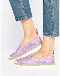 Espadrilles imprimées violet clair Love Moschino