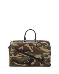 Fourre-tout en cuir camouflage olive