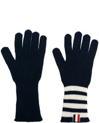 Gants à rayures horizontales bleu marine Thom Browne