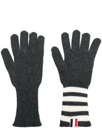 Gants à rayures horizontales gris foncé Thom Browne