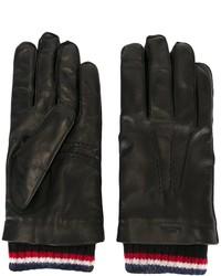Gants à rayures horizontales noirs Thom Browne
