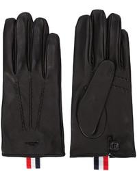 Gants en cuir à rayures horizontales noirs Thom Browne