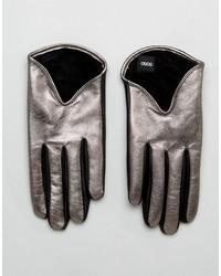 Gants en cuir argentés Asos