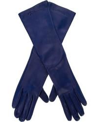 Gants en cuir bleus Giorgio Armani
