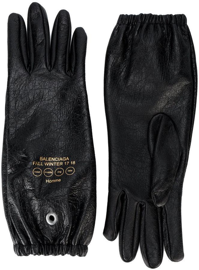 Gants en cuir imprimés noirs Balenciaga