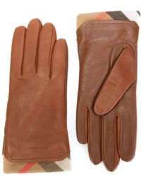 Gants en cuir marron Burberry