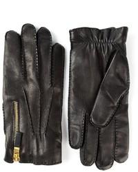 Gants en cuir noir Alexander McQueen