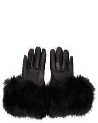 Gants en cuir noirs Calvin Klein Collection