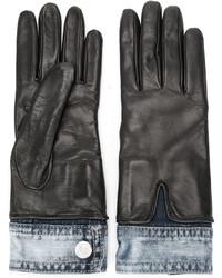 Gants en cuir noirs Dsquared2