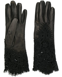 Gants en cuir noirs Ermanno Scervino