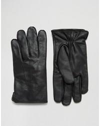 Gants en cuir noirs French Connection