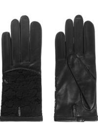 Gants en cuir noirs Nina Ricci