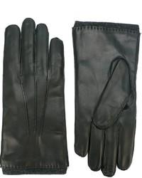 Gants en cuir noirs Orciani