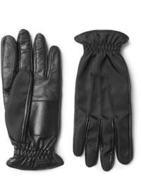 Gants en cuir noirs Prada
