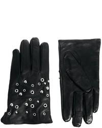 Gants en cuir noirs Selected