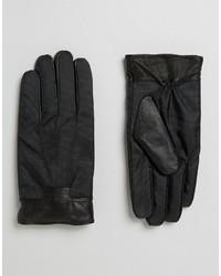 Gants en cuir noirs Ted Baker