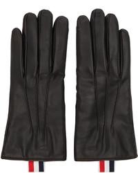 Gants en cuir noirs Thom Browne