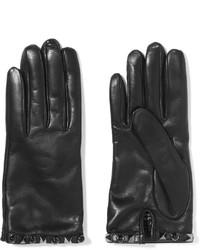 Gants en cuir noirs Valentino