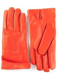 Gants en cuir orange