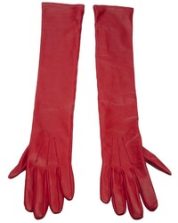 Gants en cuir rouges Lanvin