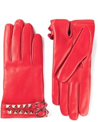 Gants en cuir rouges Valentino Garavani