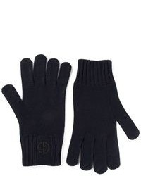 Gants en laine bleu marine Giorgio Armani
