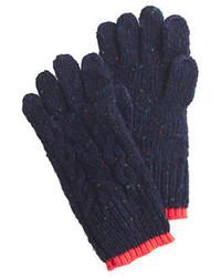 Gants en laine bleus marine