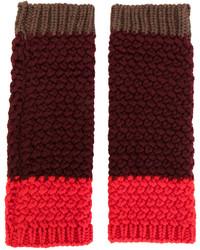 Gants en laine en tricot bordeaux Etro