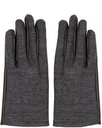 Gants en laine gris foncé Lanvin