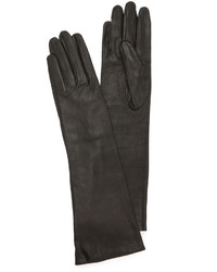 Gants longs en cuir noirs Carolina Amato