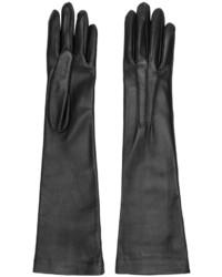 Gants longs en cuir noirs Jil Sander