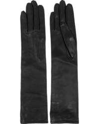 Gants longs en cuir noirs Lanvin