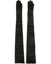 Gants longs en cuir noirs Maison Margiela